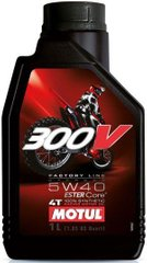 Масло Motul 300V 4T FACTORY LINE OFF ROAD SAE 5W40, 1 литр, (845611, 104134)